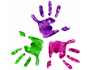 three coloured hand prints