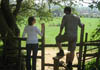 Walkers use a stile near Bloxham