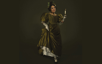 woman in historical dress dancing