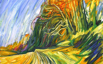 A painting of a country track with trees alongside.