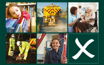 a child in a library, a gritter, a lady being cared for, pothole repair and a child learning an instrument