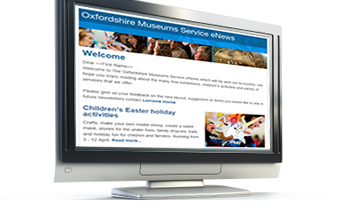 Computer screen showing eNewsletter