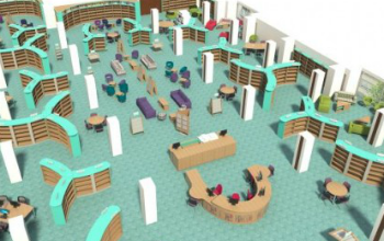 Plan of first floor at new Oxfordshire County Library