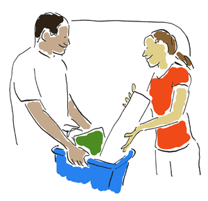 a man and a lady holding recycling