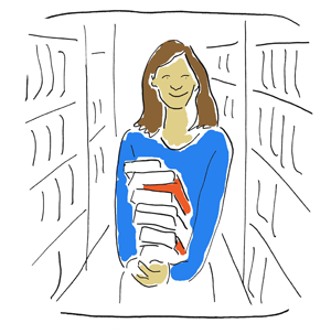 lady holding library books