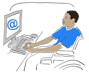 a teenager in a wheelchair using a computer