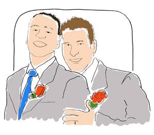 two men in wedding suits