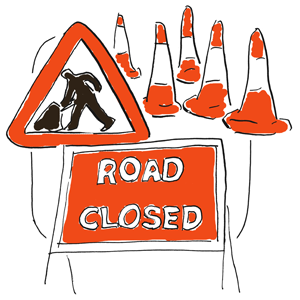 traffic cones and road work signs