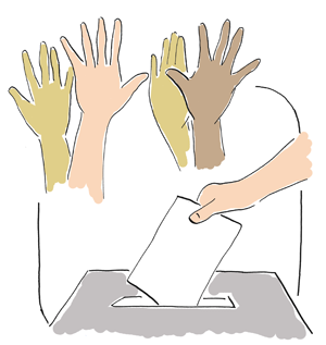 people with their hands up and a voting box
