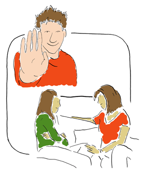 young man holding up hand and young girl talking to her mother