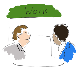 employment adviser showing a man into work