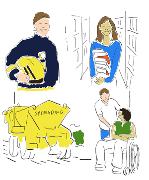 firefighter, librarian, gritter and man pushing a person in wheelchair