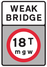 Road sign showing a warning of a weak bridge up ahead