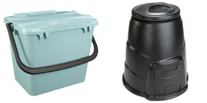 green caddy and compost bin