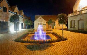View of courtyard at night