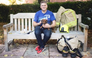 Stuart and dog on bench