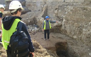 Students visiting site at Oxford Castle