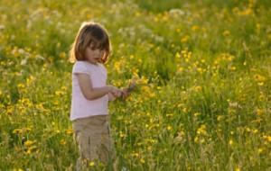 girl in field full of flowers