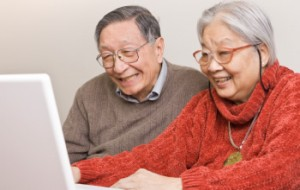 Couple using a computer