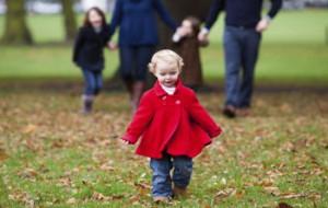 Toddler walking in park