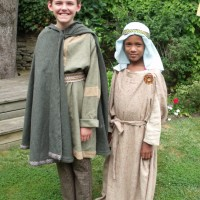 Two children dressed in Anglo Saxon clothing
