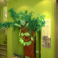 A tree built by children in the woodland gallery.