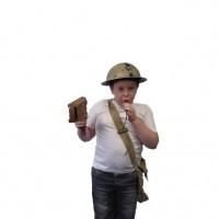 Boy wearing tin hat