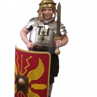 Child dressed up as a Roman soldier