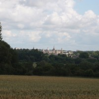 Distant view of Oxford's university college landscape