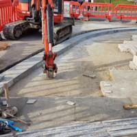New reinforced concrete slab on the station corner.
