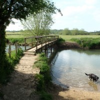 Wooden footbridge over river on Stonesfield to Kirtlington section