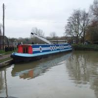 Blue striped narrowboat at Thrupp